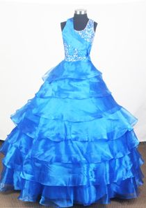 Beading and Blue Little Girls Pageant Dresses with Ruffled Layered from Montgomery