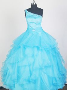 2013 Lovely Aqua Blue Little Girls Pageant Dresses with Ruffles and Beading in Nashua