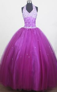 Beaded Decorate Bust Little Girls Pageant Dresses with Halter from Lake Havasu City