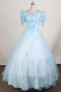 Short Sleeves and Light Blue for Little Girl Pageant Dresses with Beading in Troy