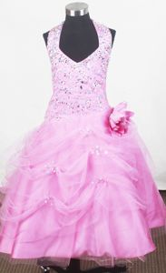 Beaded Halter Little Girls Pageant Dresses with Hand Made Flower from Montgomery