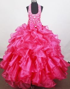 Beaded Decorate Halter and Bowknot Little Girls Pageant Dresses with Ruffles in Flint