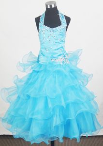 Beading Halter and Ruffled Layers Little Girl Pageant Dresses with Aqua Blue in Nashua