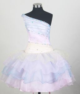 One Shoulder and Ruffled Layers Little Girls Pageant Dresses with Beading from Hanover
