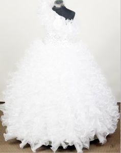 White Beading Gorgeous Little Girls Pageant Dresses with Ruffles from Montgomery