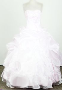 Beaded 2013 Lovely Strapless White Little Girls Pageant Dresses with Organza in Acton