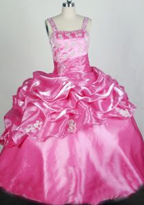 Rose Pink and Appliqued for Lovely Little Girls Pageant Dresses from Lake Havasu City