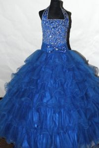 Beaded and Ruffled Layers Gorgeous Little Girls Pageant Dresses with Halter from Wichita