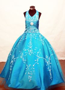 Tulle Halter Neckline Blue Little Girls Pageant Dresses with Appliques Decorate in Acton