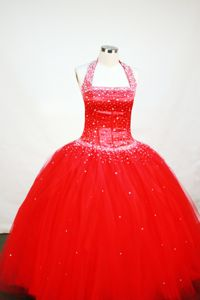Red Custom Made Beaded Decorate Tulle Little Girls Pageant Dresses with Halter in Wichita
