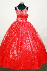 Beaded Elegant Sequin Red Little Girls Pageant Dresses with Belt from City of Industry