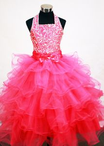 Hot Pink Halter Neckline Beaded Little Girls Pageant Dresses with Ruffled Layers from Acton