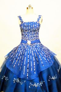 Organza Blue Straps Little Girls Pageant Dresses with Beading and Appliques in Elgin