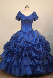 Blue V-neck Short Sleeves Beaded Decorate Little Girls Pageant Dresses in Organza in Elgin