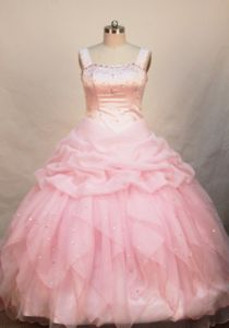 Beaded Decorate Organza Baby Pink Little Girls Pageant Dresses with Straps from Lahaina