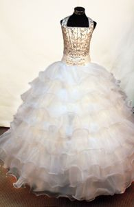 Halter Neckline Bowknot withe Little Girls Pageant Dresses with Beaded Decorate from Ocala