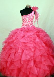 Organza Hot Pink One Shoulder Little Girls Pageant Dresses with Embroidery Flower in Hilo