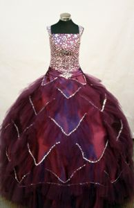 Custom Made Square Burgundy Beaded Little Girls Pageant Dresses in Bodice from Lahaina