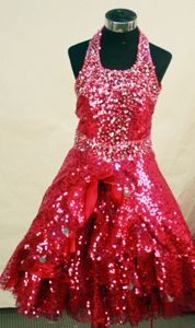 Red Custom Made Sequin Fabric Little Girls Pageant Dresses in Halter Neckline from Ocala