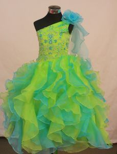 Multi-color Little Girls Pageant Dresses with Ruffles and Flowers Decorate from Mendocino
