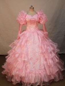 Appliqued and Ruffled Layers Little Girls Pageant Dresses with Long Sleeves from Dover