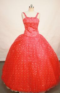 Red Sequin Straps Beaded Decorate Little Girls Pageant Dresses with Flower in Ocala