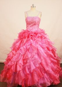 Spaghetti Straps Coral Red Little Girls Pageant Dresses with Beading and Ruffles in Largo
