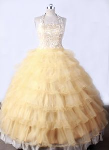 Beaded Gold and Halter Little Girls Pageant Dresses with Ruffled Layers from Nevada City