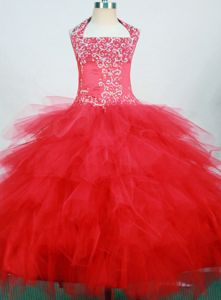 Red and Halter Little Girls Pageant Dresses with Ruffled Layers from Laguna Hills