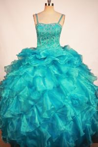 Blue Little Girls Pageant Dresses with Ruffles and Beading from City of Industry