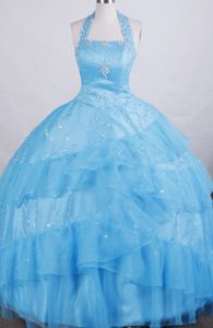 Halter top neck Floor-length Exclusive Little Girls Pageant Dresses in A-line in Sonoma