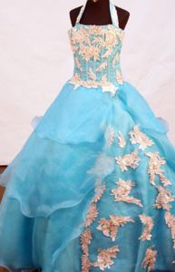 A-line Appliques Decorate Floor-length Little Girls Pageant Dresses in Halter from Aspen