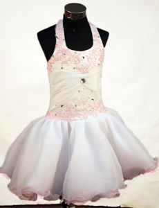 Cute Mini-length Halter Trimmed Embroidery Toddler Pageant Dresses