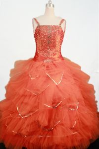 Orange Ruffled Tulle Straps Beading Little Girls Pageant Dresses