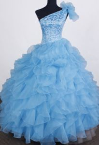 Pretty Blue One Shoulder Style Beauty Pageants Dresses with Ruffles