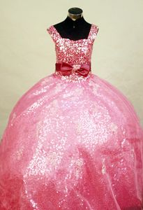 2014 Little Girl Pageant Dress Stunning Sequin Fabric Satin Bowknot