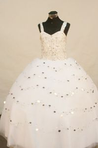 White Floor-length Shimmering Sequins Child Pageant Dresses with Straps