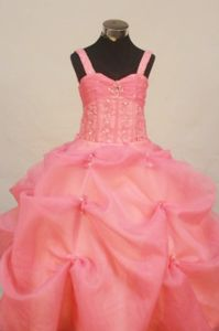 2014 Watermelon Sweet Little Girl Pageant Outfits Straps With Pick-ups