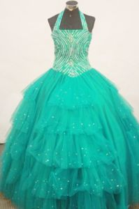 In Stock Beauty Pageants Outfits Green Halter-Top with Beaded Layeres