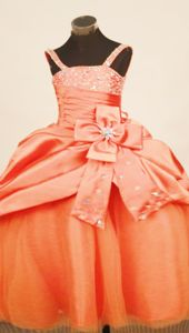 Floor Length Orange Girls Pageant Gowns Beaded Straps and Bowknot