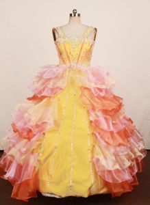 Hottest Styles Girls Pageant Dress Multi-color Tiered Organza Straps