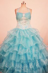 Halter Beading Aqua Blue Ruffled Layers Little Girls Pageant Dress