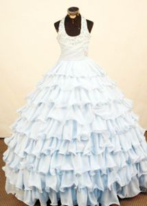 Tiered Ruffles Baby Blue Floor-length Pageant Dresses with Halter-top