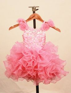 Cute Organza Handmade Flower Straps Baby Pink Toddler Pageant Dress