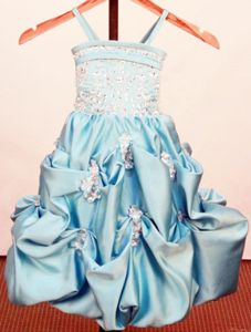 Good Quality Baby Blue Straps Toddler Pageant Dresses with Pick-ups