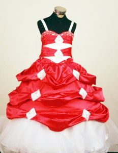 2014 New Arrivals Straps Red and White Pick-ups Child Pageant Dresses