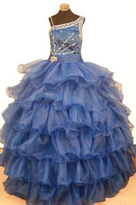 Royal Blue Asymmetrical Neckline Beaded Ruffled Pageant Dresses For Kids