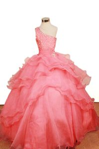 Sweet Watermelon One Shoulder Ruffled Little Girl Pageant Dresses 2014
