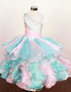 Wonderful One Shoulder Beaded Little Girl Birthday Dresses with Ruffles