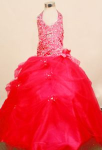 Youth Pageant Dresses Halter Neck Beaded Bodice and Handmade Flowers